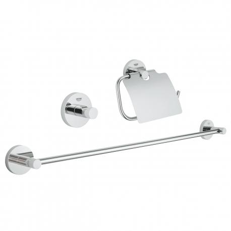 Комплект аксесоари за баня GROHE Essential 3в1, 40775001- Поставка за тоалетна хартия с капак,поатавка за хавлии  и закачалка