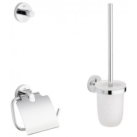 Комплект аксесоари за баня GROHE Essential 3в1, 40407001- Поставка за тоалетна хартия с капак, тоалетна четка и закачалка