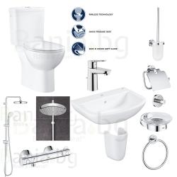 Пълен комплект за баня GROHE PALLET 10 GRT800 Tempesta - тоалетна моноблок, мивка, полуботуш, термостатен смесител с душ и аксес