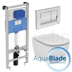 Комплект IDEAL STANDARD Tesi AquaBlade, тоалетна чиния, капак по избор, структура за вграждане PROSYS 120 М с бутон SOLEA