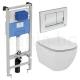 Комплект IDEAL STANDARD Tesi, тоалетна чиния със скрито присъединяване, капак по избор, структура за вграждане PROSYS 120М с бут
