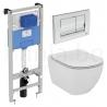 Комплект IDEAL STANDARD Tesi, тоалетна чиния със скрито присъединяване, капак по избор, структура за вграждане PROSYS 120М с бутон SOLEA