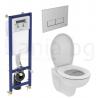 Комплект структура за вграждане IDEAL STANDART 35 см. с бутон и стенна тоалетна чиния EUROVIT Rimless с капак