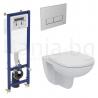 Комплект структура за вграждане IDEAL STANDART 35 см. с бутон и стенна тоалетна чиния KHEOPSE с капак по избор