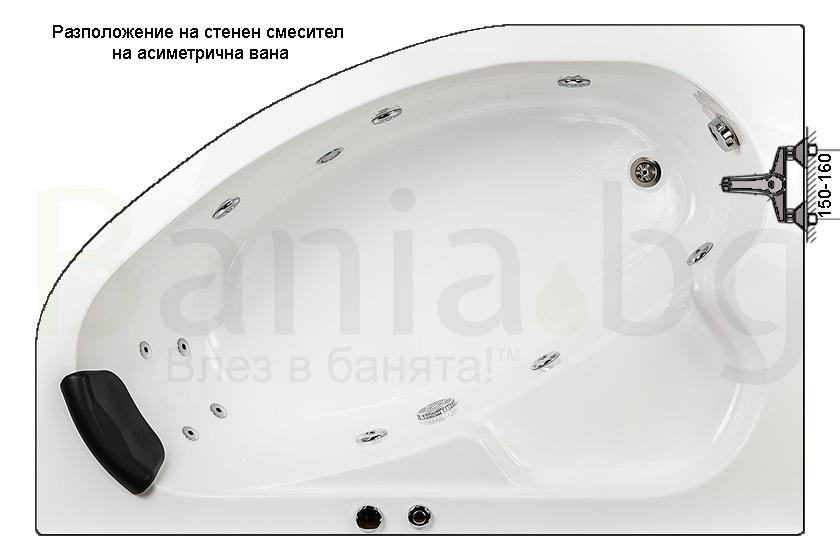смесител или душ система монтирани на стената над хидромасажната вана